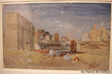 View of the Arch of Titus and the Temple of Venus and Roma, From the Arch of Constantine and the Meta Sudans, Rome, 1819, Gouache, grafite e acquerello su carta