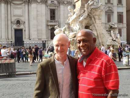 Paul Laverty  e Santiago Alfonso a piazza Navona